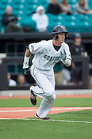 Casey Schroeder (10) of the Coastal Carolina Chanticleers hustles down the first base line against the Bryant Bulldogs at Springs Brooks Stadium on March 13, 2015 in Charlotte, North Carolina.  The Chanticleers defeated the Bulldogs 7-2.  (Brian Westerholt/Four Seam Images)