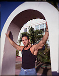 Photo Andrew Kaufman-November 1997. For NEWSWEEK. Jose a homosexual and well known Body builder came to south beach, Miami to escape racism in his community towards gays. AIDS and steroids are a serious self medication ritual known to this community on South Beach.