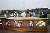 DYERSVILLE, IOWA - AUGUST 12: Fox MLB Pregame broadcasters Kevin Burkhardt, Alex Rodriguez, David Ortiz, and Frank Thomas with special guest Kevin Costner (C) at the Fox broadcast of the MLB Field of Dreams game on August 12, 2021 in Dyersville, Iowa. (Photo by Frank Micelotta/Fox Sports/PictureGroup)