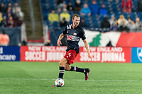 FOXBOROUGH, MA - AUGUST 4: Henry Kessler #4 of New England Revolution looks to pass during a game between Nashville SC and New England Revolution at Gillette Stadium on August 4, 2021 in Foxborough, Massachusetts.