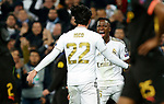 Real Madrid CF's Isco Alarcon and Real Madrid CF's Vinicius Jr celebrates after scoring a goal during UEFA Champions League match, round of 16 first leg between Real Madrid and Manchester City at Santiago Bernabeu Stadium in Madrid, Spain. February Wednesday 26, 2020.(ALTERPHOTOS/Manu R.B.)
