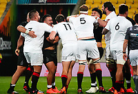 A good-natured scuffle breaks out during the rugby match between North and South at Sky Stadium in Wellington, New Zealand on Saturday, 5 September 2020. Photo: Dave Lintott / lintottphoto.co.nz