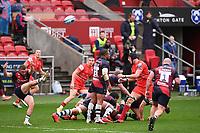 30th September 2020; Ashton Gate Stadium, Bristol, England; Premiership Rugby Union, Bristol Bears versus Leicester Tigers; Callum Sheedy of Bristol Bears kicks from the base of the ruck