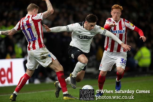 Home midfielder forward Tom Lawrence in action during the second-half action as Derby County (in white) played Stoke City in an EFL Championship match at Pride Park Stadium. Opened in 1997, it is the 16th-largest football ground in England and the 20th-largest stadium in the United Kingdom. The fixture ended in a 0-0 draw watched by a crowd of 25,685.