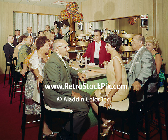 Metropolitan Motel, Asbury Park, New Jersey. Couples at the Bar.  1960's