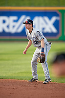 West Michigan Whitecaps second baseman Will Savage (12) during a game against the Peoria Chiefs on May 9, 2017 at Dozer Park in Peoria, Illinois.  Peoria defeated West Michigan 3-1.  (Mike Janes/Four Seam Images)