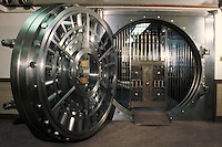 Large two-foot-thick round steel door of a bank vault, Zion's Bank, SLC, Utah. Salt Lake City, Utah.