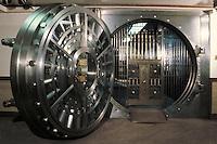 Large two-foot-thick round steel door of a bank vault, Zion's Bank, SLC, Utah. Salt Lake City, Utah.