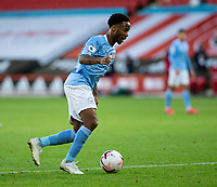 31st October 2020; Bramall Lane, Sheffield, Yorkshire, England; English Premier League Football, Sheffield United versus Manchester City; Raheem Sterling of Manchester City breaks forward with the ball