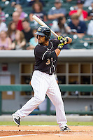 Micah Johnson (3) of the Charlotte Knights at bat against the Pawtucket Red Sox at BB&T Ballpark on August 9, 2014 in Charlotte, North Carolina.  The Red Sox defeated the Knights  5-2.  (Brian Westerholt/Four Seam Images)