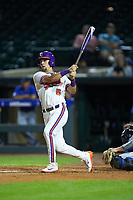 Chase Pinder (5) of the Clemson Tigers follows through on his swing against the Duke Blue Devils in Game Three of the 2017 ACC Baseball Championship at Louisville Slugger Field on May 23, 2017 in Louisville, Kentucky. The Blue Devils defeated the Tigers 6-3. (Brian Westerholt/Four Seam Images)