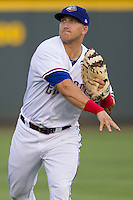 Round Rock Express infielder Mike Bianucci (33) warms up before the Iowa Cubs in the Pacific Coast League baseball game on July 21, 2013 at the Dell Diamond in Round Rock, Texas. Round Rock defeated Iowa 3-0. (Andrew Woolley/Four Seam Images)