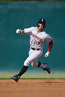 Steele Walker (10) of the Kannapolis Intimidators hustles towards third base against the Greensboro Grasshoppers at Kannapolis Intimidators Stadium on August 5, 2018 in Kannapolis, North Carolina. The Intimidators defeated the Grasshoppers 9-0 in game two of a double-header.  (Brian Westerholt/Four Seam Images)