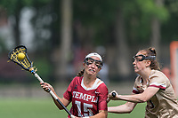 NEWTON, MA - MAY 16: Gabrielle Kirsch #15 of Temple University looks to pass as Annie Walsh #3 of Boston College defends during NCAA Division I Women's Lacrosse Tournament second round game between Temple University and Boston College at Newton Campus Lacrosse Field on May 16, 2021 in Newton, Massachusetts.