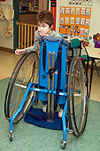 MR / Albany, NY.Langan School at Center for Disability Services .Ungraded private school which serves individuals with multiple disabilities.Child uses Mobile Prone Stander so he can get around independently. Boy: 10, Duchenne muscular dystrophy, expressive and receptive language delays.MR: Bud2.© Ellen B. Senisi