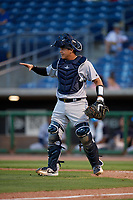 Tampa Tarpons catcher Jason Lopez (10) during a Florida State League game against the Clearwater Threshers on April 18, 2019 at Spectrum Field in Clearwater, Florida.  Clearwater defeated Tampa 10-3.  (Mike Janes/Four Seam Images)