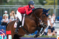 3rd October 2021;  Real Club de Polo, Barcelona, Spain; CSIO5 Longines FEI Jumping Nations Cup Final 2021; Lillie Keenan from USA during the FEI Jumping Nations Cup Final 2021