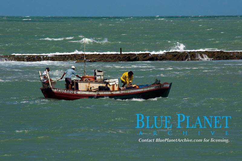 Fishermen in a boat, Natal, Rio Grande do Norte, Brazil