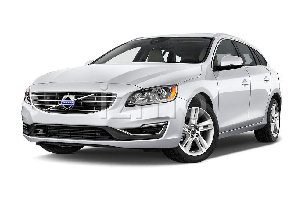 Stock pictures of low aggressive front three quarter view of 2015 Volvo V60 Xenium T5 Drive-E FWD 5 Door Wagon Low Aggressive