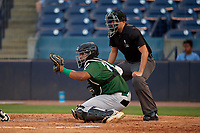 Daytona Tortugas catcher Hendrik Clementina (24) and umpire Ben Fernandez await the pitch during a Florida State League game against the Tampa Tarpons on May 17, 2019 at George M. Steinbrenner Field in Tampa, Florida.  Daytona defeated Tampa 8-6.  (Mike Janes/Four Seam Images)