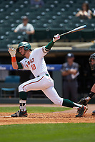 Romy Gonzalez (10) of the Miami Hurricanes follows through on his swing against the Georgia Tech Yellow Jackets during game one of the 2017 ACC Baseball Championship at Louisville Slugger Field on May 23, 2017 in Louisville, Kentucky. The Hurricanes walked-off the Yellow Jackets 6-5 in 13 innings. (Brian Westerholt/Four Seam Images)