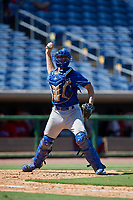 Toronto Blue Jays catcher Hagen Danner (26) throws to first base during a Florida Instructional League game against the Philadelphia Phillies on September 24, 2018 at Spectrum Field in Clearwater, Florida.  (Mike Janes/Four Seam Images)
