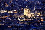 Twilight aerial view of Notre Dame cathedra city of Paris. Paris. France