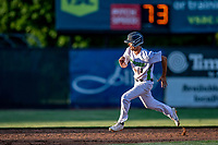 29 May 2021: Vermont Lake Monsters outfielder Andrew Bergeron, from Ponte Verda Beach, FL, on the base-path during a game against the Norwich Sea Unicorns at Centennial Field in Burlington, Vermont. The Lake Monsters defeated the Unicorns 6-3 in their FCBL Home Opener, the first home game played at Centennial Field post-Covid-19 pandemic. Mandatory Credit: Ed Wolfstein Photo *** RAW (NEF) Image File Available ***