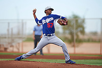 Los Angeles Dodgers pitcher Chris Powell (57) during an instructional league game against the Cleveland Indians on October 15, 2015 at the Goodyear Ballpark Complex in Goodyear, Arizona.  (Mike Janes/Four Seam Images)
