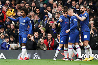 Chelsea's Mason Mount celebrates scoring his side's goal with teammates<br /> <br /> Photographer Stephanie Meek/CameraSport<br /> <br /> The Premier League - Chelsea v Everton - Sunday 8th March 2020 - Stamford Bridge - London<br /> <br /> World Copyright © 2020 CameraSport. All rights reserved. 43 Linden Ave. Countesthorpe. Leicester. England. LE8 5PG - Tel: +44 (0) 116 277 4147 - admin@camerasport.com - www.camerasport.com