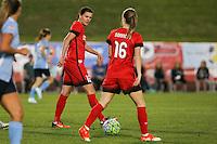 Piscataway, NJ - Sunday Sept. 25, 2016: Christine Sinclair, Emily Sonnett during a regular season National Women's Soccer League (NWSL) match between Sky Blue FC and the Portland Thorns FC at Yurcak Field.