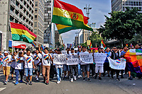 Manifestaçao ato contrra o golpe na Bolívia. Avenida Paulista. 17.11. 2019. Foto Lineu Kohatsu
