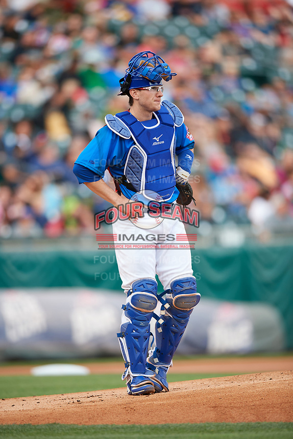 Buffalo Bisons catcher Danny Jansen (41) during a game against the Gwinnett Braves on August 19, 2017 at Coca-Cola Field in Buffalo, New York.  The Bisons wore special Superhero jerseys for Superhero Night.  Gwinnett defeated Buffalo 1-0.  (Mike Janes/Four Seam Images)