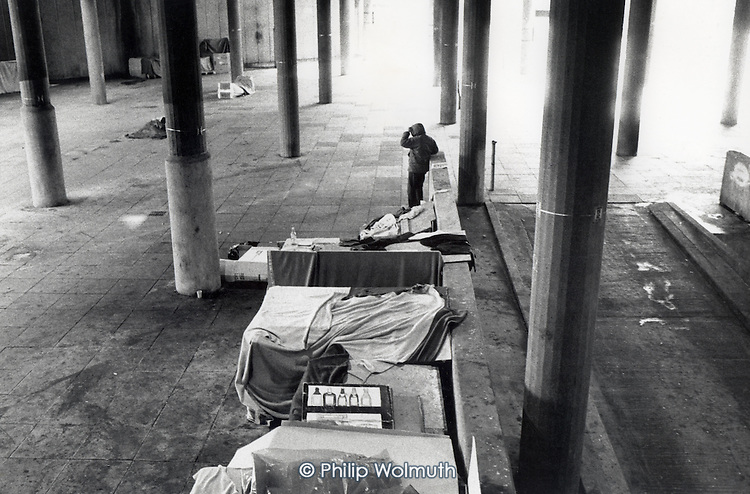 Shelters built by the homeless in Cardboard City, Waterloo, central London.