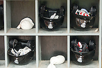 Lansing Lugnuts helmet rack on May 12, 2016 at Cooley Law School Stadium in Lansing, Michigan. (Andrew Woolley/Four Seam Images)