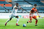 Adelaide United Defender Mark Ochieng (L) fights for the ball with Jeju United Midfielder Lee Changmin (R) during the AFC Champions League 2017 Group Stage - Group H match between Jeju United FC (KOR) vs Adelaide United (AUS) at the Jeju World Cup Stadium on 11 April 2017 in Jeju, South Korea. Photo by Marcio Rodrigo Machado / Power Sport Images