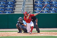 Clearwater Threshers second baseman Scott Kingery (31) at bat in front of catcher Mac James (8) and umpire Mike Savakinas during a game against the Charlotte Stone Crabs on April 13, 2016 at Bright House Field in Clearwater, Florida.  Charlotte defeated Clearwater 1-0.  (Mike Janes/Four Seam Images)