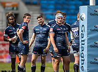 17th April 2021; AJ Bell Stadium, Salford, Lancashire, England; English Premiership Rugby, Sale Sharks versus Gloucester; Sale players watch the TMO screen