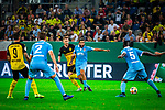 09.08.2019, Merkur Spiel-Arena, Düsseldorf, GER, DFB Pokal, 1. Hauptrunde, KFC Uerdingen vs Borussia Dortmund , DFB REGULATIONS PROHIBIT ANY USE OF PHOTOGRAPHS AS IMAGE SEQUENCES AND/OR QUASI-VIDEO<br /> <br /> im Bild | picture shows:<br /> Marco Reus (Borussia Dortmund #11) im Duell mit Selim Guenduez (KFC Uerdingen #3), <br /> <br /> Foto © nordphoto / Rauch