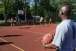 """American and Polish soldiers play each other in basketball during a day off for cultural activities, which included sports games between the different participating armies in the NATO """"Saber Strike"""" military exercises, in Drawsko Pomorskie, Poland on June 13, 2015.  NATO is engaged in a multilateral training exercise """"Saber Strike,"""" the first time Poland has hosted such war games, involving the militaries of Canada, Denmark, Germany, Poland, and the United States."""