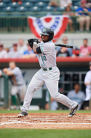 Daytona Tortugas right fielder Daniel Sweet (10) follows through on a swing during a game against the Florida Fire Frogs on April 7, 2018 at Osceola County Stadium in Kissimmee, Florida.  Daytona defeated Florida 4-3 in a six inning rain shortened game.  (Mike Janes/Four Seam Images)