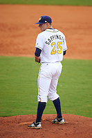 Montgomery Biscuits pitcher Mark Sappington (25) gets ready to deliver a pitch during a game against the Tennessee Smokies on May 25, 2015 at Riverwalk Stadium in Montgomery, Alabama.  Tennessee defeated Montgomery 6-3 as the game was called after eight innings due to rain.  (Mike Janes/Four Seam Images)