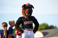 Batavia Muckdogs mascot on the field for a promotion in between innings with two young fans during a game against the Brooklyn Cyclones on July 4, 2016 at Dwyer Stadium in Batavia, New York.  Brooklyn defeated Batavia 5-1.  (Mike Janes/Four Seam Images)