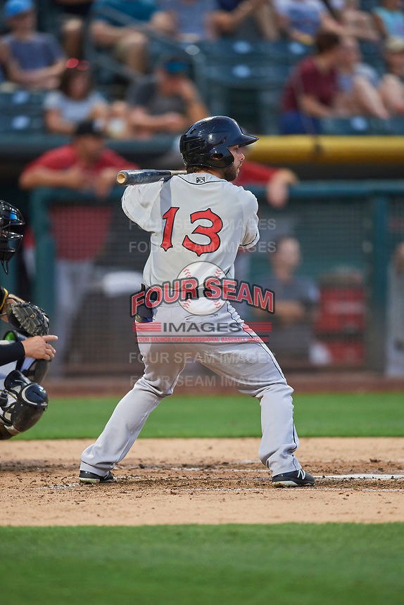 Forrestt Allday (13) of the El Paso Chihuahuas bats against the Salt Lake Bees at Smith's Ballpark on August 14, 2018 in Salt Lake City, Utah. El Paso defeated Salt Lake 6-3. (Stephen Smith/Four Seam Images)