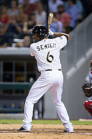 Marcus Semien (6) of the Charlotte Knights at bat against the Gwinnett Braves at BB&T Ballpark on August 19, 2014 in Charlotte, North Carolina.  The Braves defeated the Knights 10-5.   (Brian Westerholt/Four Seam Images)
