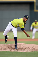 Eighteen-year-old Mets prospect, Simeon Woods-Richardson (21) of the Columbia Fireflies, struck out six in five innings of work to pick up the 5-2 win in a game against the Augusta GreenJackets on Thursday, July 11, 2019 at Segra Park in Columbia, South Carolina. (Tom Priddy/Four Seam Images)