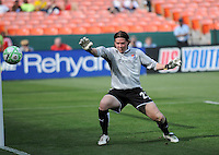 Sky Blue FC goalkeeper Jenni Branam (23) watches the ball fly past her into the net on Washington Freedom's goal.  Washington Freedom defeated Skyblue FC 2-1at RFK Stadium, Saturday May 23, 2009.