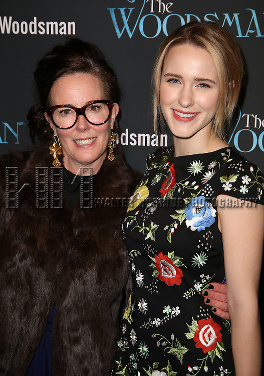 Kate Spade and Rachel Brosnahan attend the Off-Broadway Opening Night Performance of 'The Woodsman' at The New World Stages on February 8, 2016 in New York City.