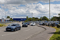 Pictured: Factory workers, mostly in Ford cars, leave the Ford engine plant in Bridgend, Wales, UK. Thursday 06 June 2019<br /> Re: An announcement on the proposed closure of Ford's Bridgend plant will be made today (Thursday).<br /> Ford Europe and bosses from the United States will meet union leaders at its Essex headquarters.<br /> The plant employs 1,700 workers from across south Wales.