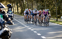 Lizzie Deignan (GBR/Trek-Segafredo) leading the front group<br /> <br /> 9th Gent-Wevelgem in Flanders Fields 2020<br /> Elite Womens Race (1.WWT)<br /> <br /> One Day Race from Ypres (Ieper) to Wevelgem 141km<br /> <br /> ©kramon